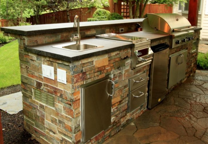 outdoor kitchen design-outdoor-stainless-sink-backyard-kitchen-stainless-storage-red-brick