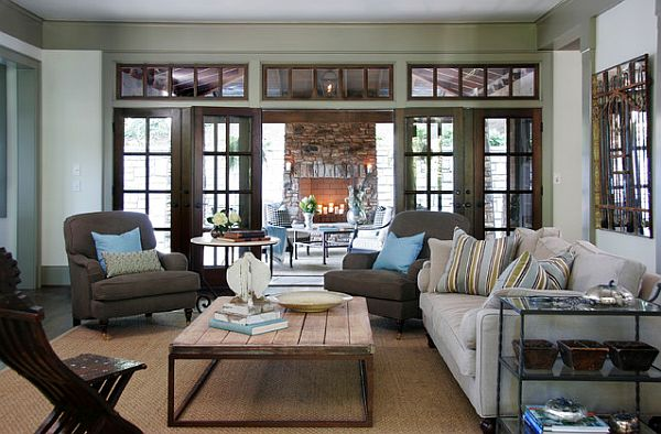 how to choose coffee table rustic-coffee-table-in-cozy-living-room-with-brown-windows