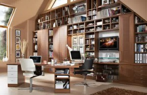 modern home office furniture-spacious-home-office-wooden-furniture-desk-large-brown-bookshelf-