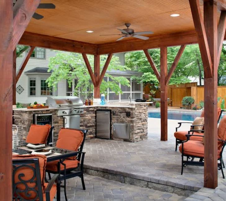 smart patio ideas stone-outdoor-kitchen-ideas-with-swimming-pool