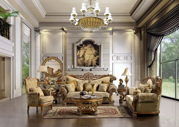 traditional-living-room-furniture-traditional-fabric-sofas-living-room-furniture-set-with-huge-glass-wall-hanging-chandelier-lamp-round-mirror-decorative-painting-white-candle