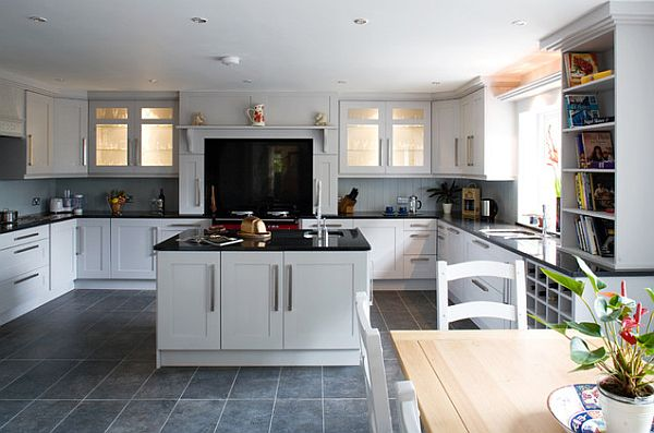 shaker-style-furniture-traditional-kitchen-with-white-shaker-cabinets-dark-countertop-wooden-dining-table-sets-white-bookshelf
