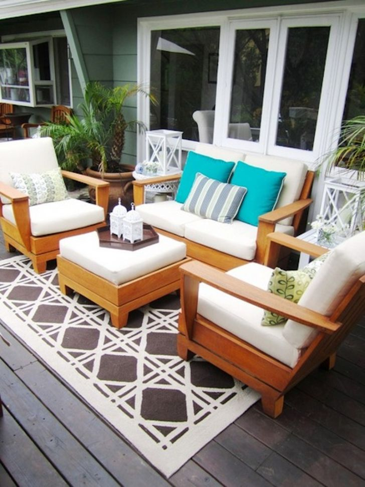 smart patio ideas wooden-patio-furniture-sets-with-green-cushion-and-brown-white-rug
