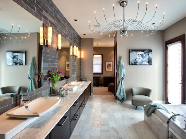 bathroom-chandelier-lighting-Classic Looks of Chandelier in the Master Bathroom with Long Wooden Vanity and Beige Sofa