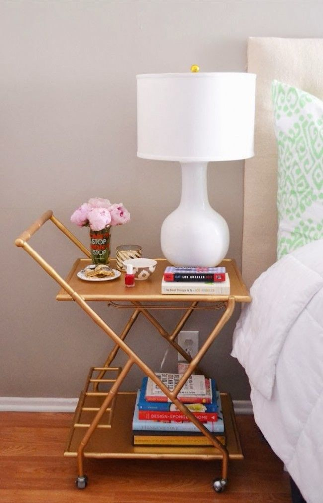 bedside-nightstands-decoration-ideas-Decorative Cart as Nightstand with Books Placed on Bottom and Top