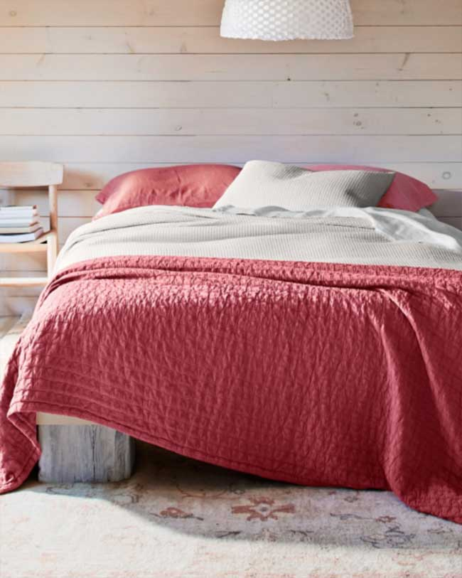 Organic Bedding Options-Eileen-Fisher-Organic-Cotton-Coverlet-Red
