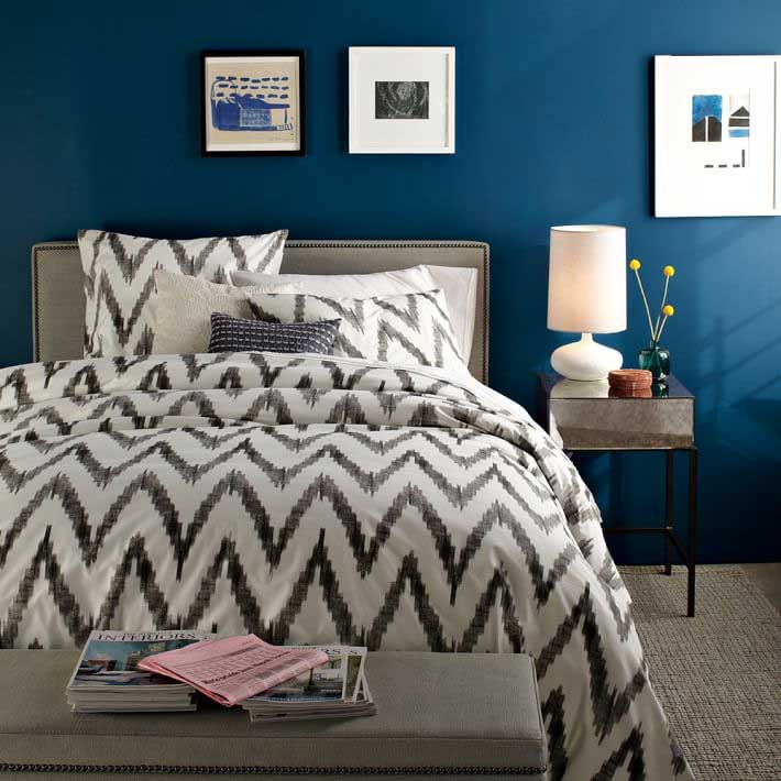 Organic Bedding Options-West-Elm-Organic-Cotton-Sheets-in-Ikat-against-Blue-Backdrop