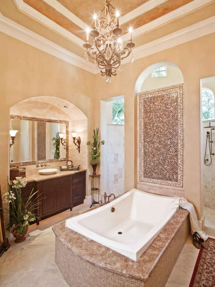 bathroom-chandelier-lighting-sizeable-bathroom-design_with_victorian-bathroom-chandelier-lights_over-white-bathub_and_bown-wooden-vanity_also_huge-square-mirror