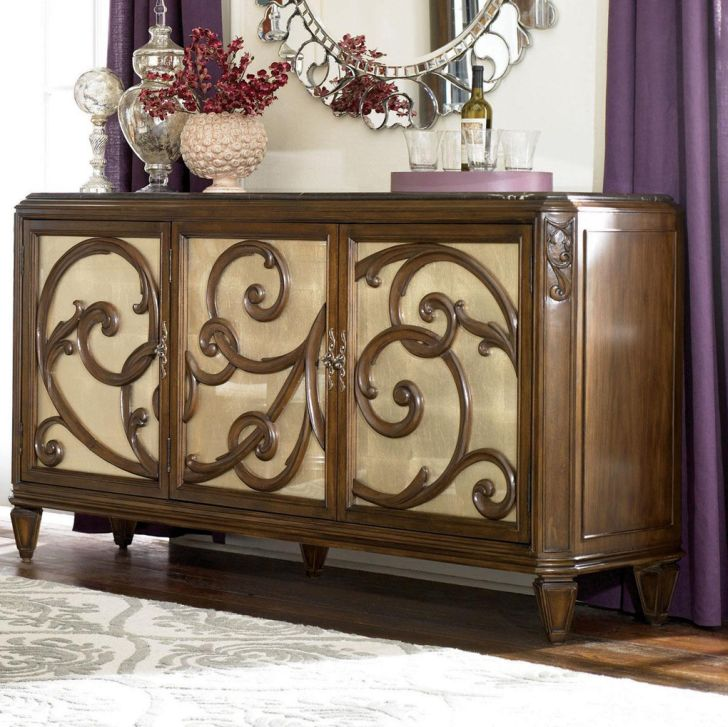 American Drew Jessica McClintock Furniture Couture Buffet with Stone Top