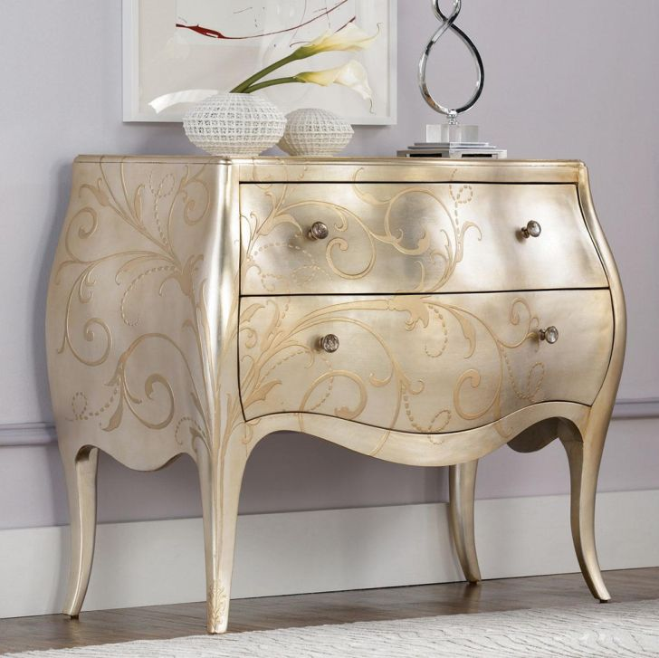 American Drew Jessica McClintock Silver Leaf Chest with Couture Accent