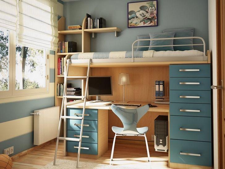 Boy Bunk Bed with Desk Underneath