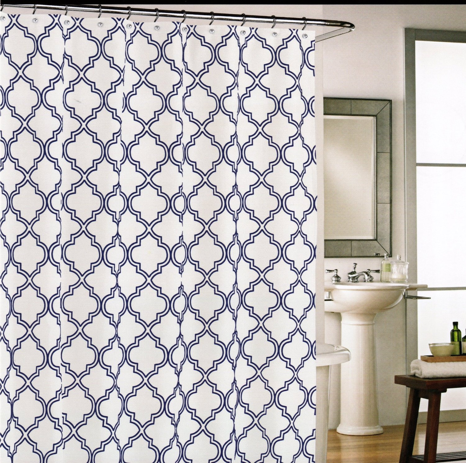 Cynthia Rowley Shower Curtain - Fabric Shower Curtain Lattice with Moroccan Tile Quatrefoil Navy Blue on White
