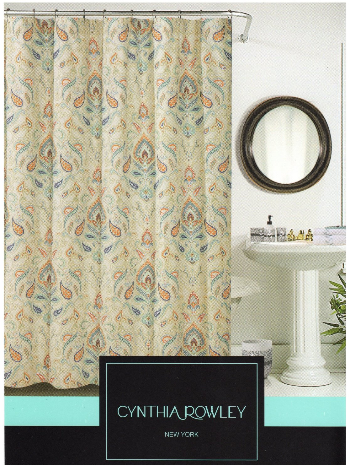 Cynthia Rowley Shower Curtain - Ischia Paisley Fabric Shower Curtain In Shades of Burnt Orange with Seafoam Green, Orange And Grey, Aqua, White and Grey, also Beige