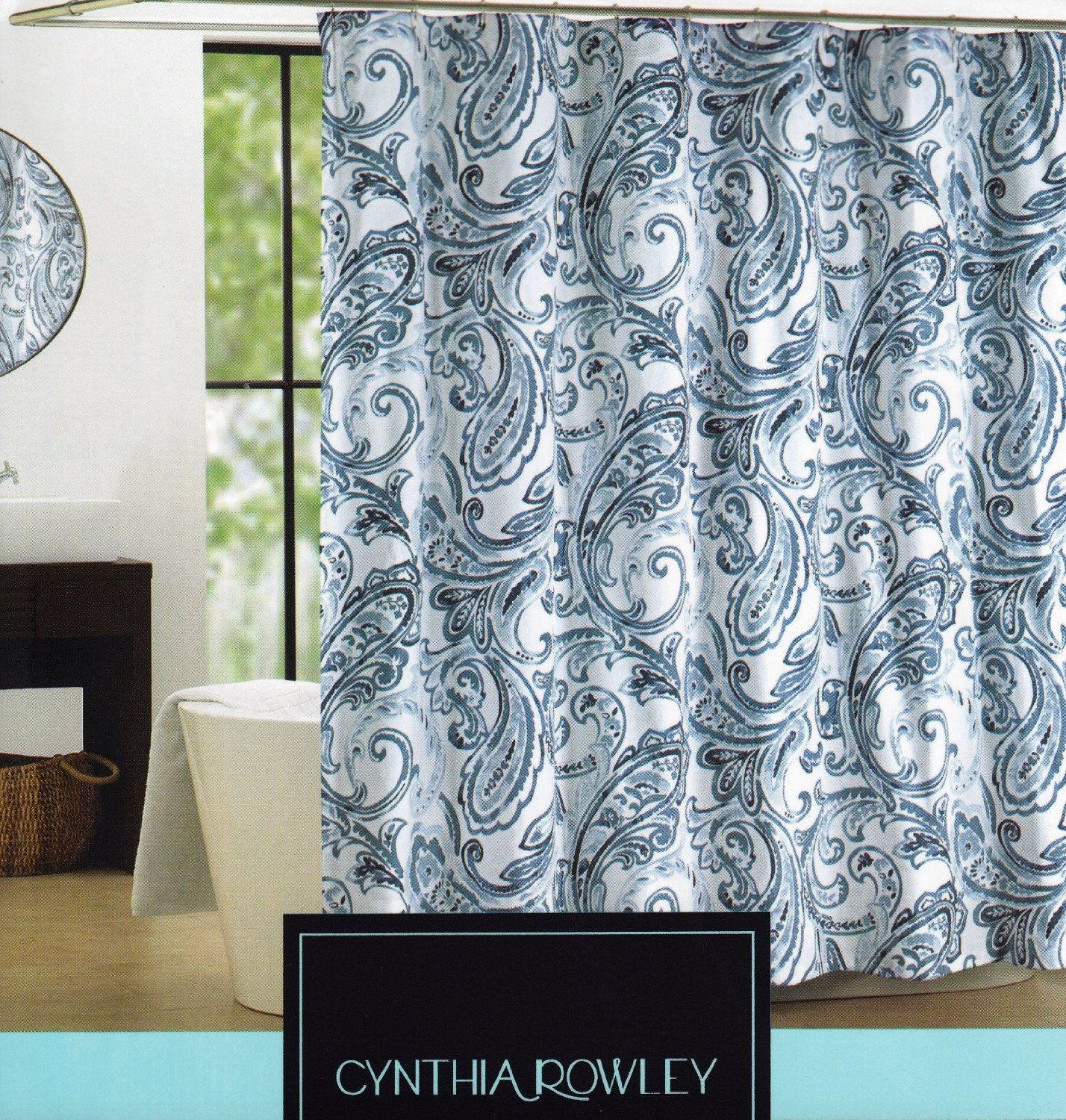 Cynthia Rowley Shower Curtain - Maeve Blue and White with Large Scale Paisley Print Fabric