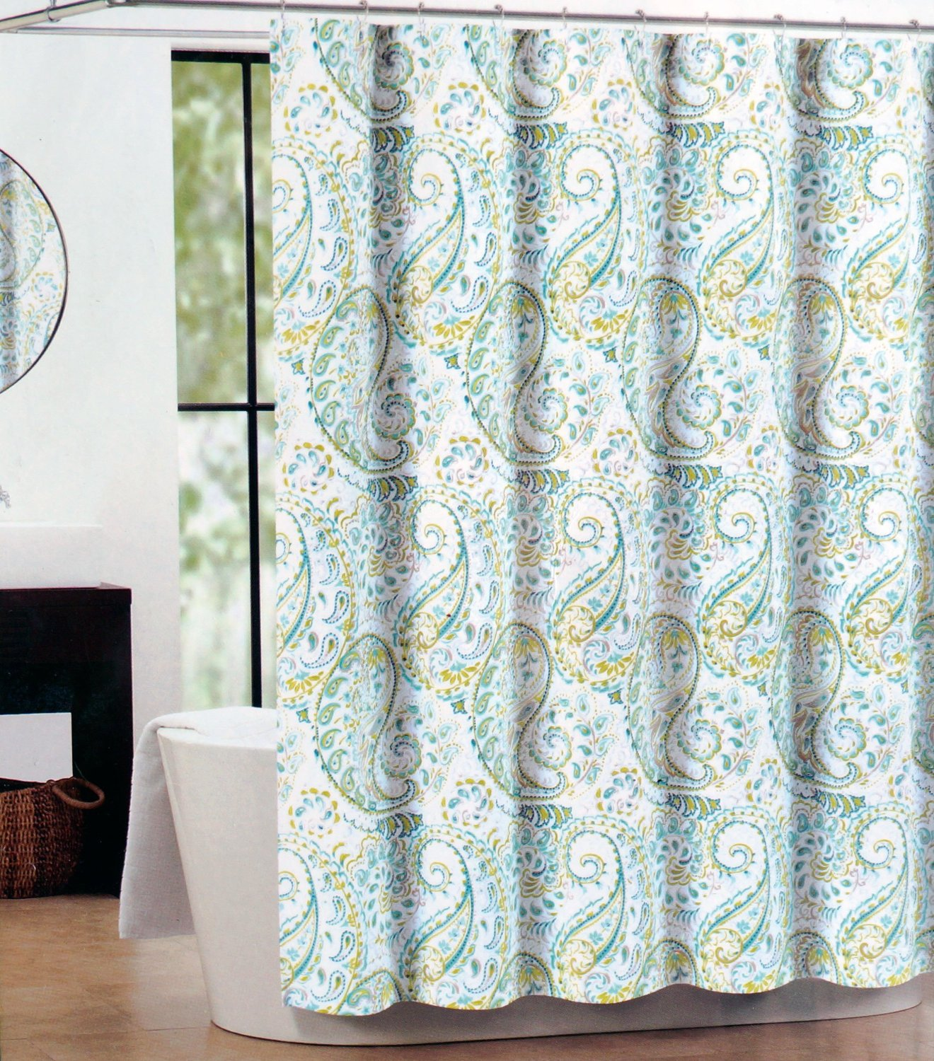 Cynthia Rowley Shower Curtain - Tahari Fabric Shower Curtain Gray Hayden Paisley, Teal, and Green
