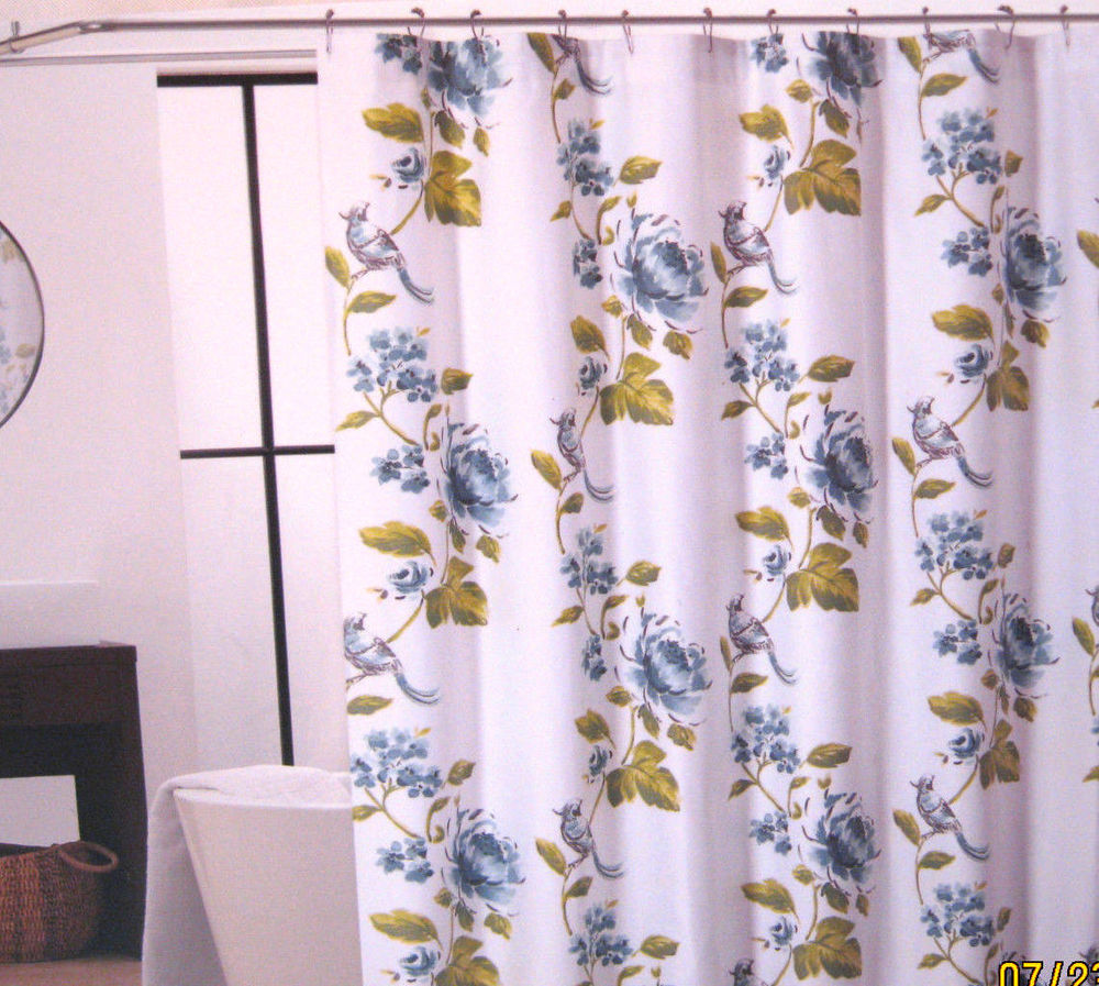 Cynthia Rowley Shower Curtain with Avedon White Floral Birds and Green also Blue Fabric Shower Curtain