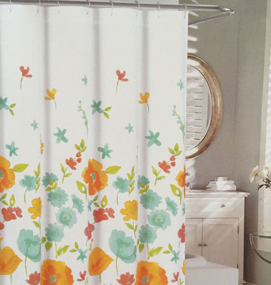 Cynthia Rowley Shower Curtain with Cindy Poppy Ombre Orange Aqua and Floral Fabric Shower Curtain