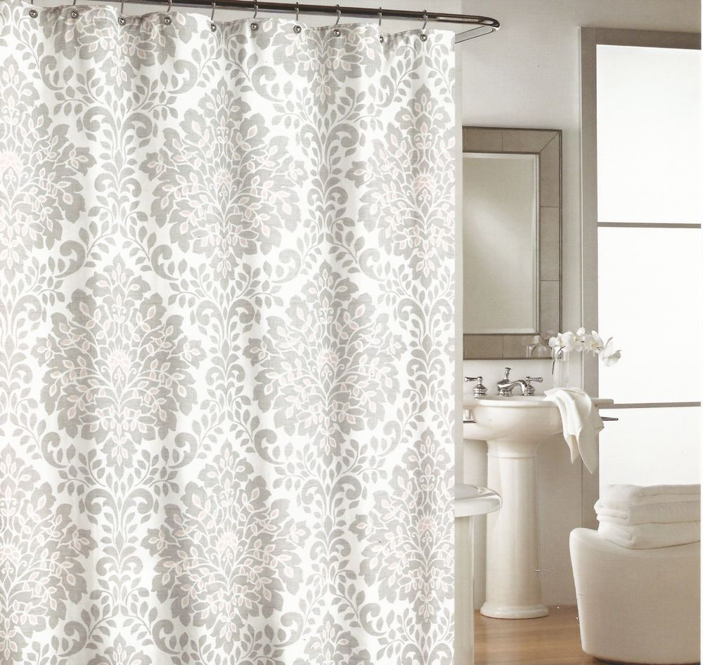Cynthia Rowley Shower Curtain with Gray White Coral Moroccan and Damask Boho Chic Shower Curtain