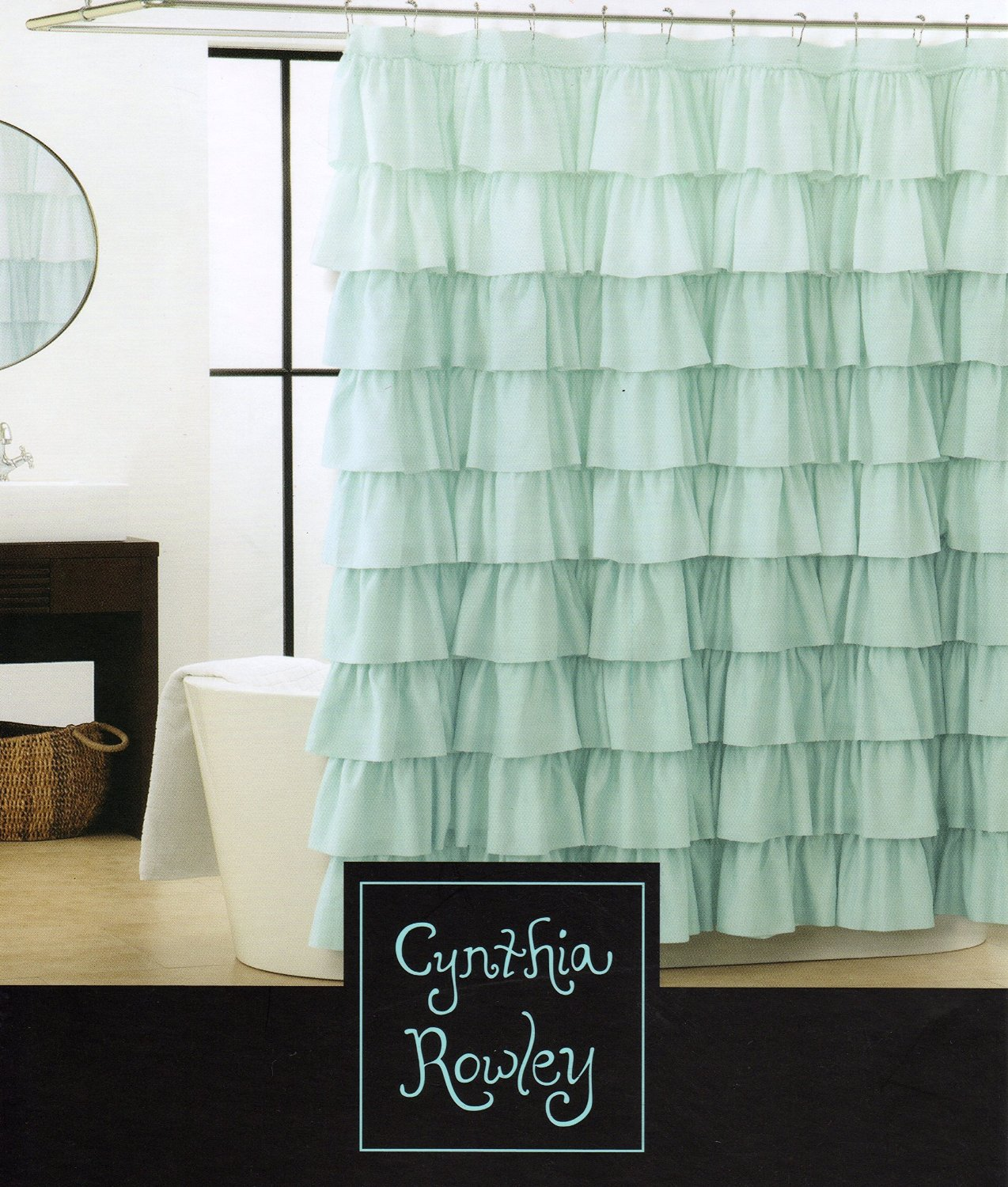Cynthia Rowley Shower Curtain with Light Aqua Blue Turquoise and Shabby Chic Gypsy Ruffled Tiers Fabric Shower Curtain