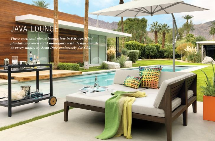 CB2 Outdoor Furniture Java Lounge Patio Furniture with White Cushion