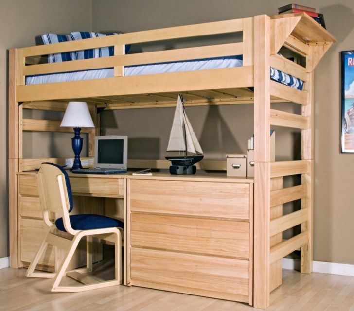 Loft Bunk Bed Combine with Wooden Desk Underneath