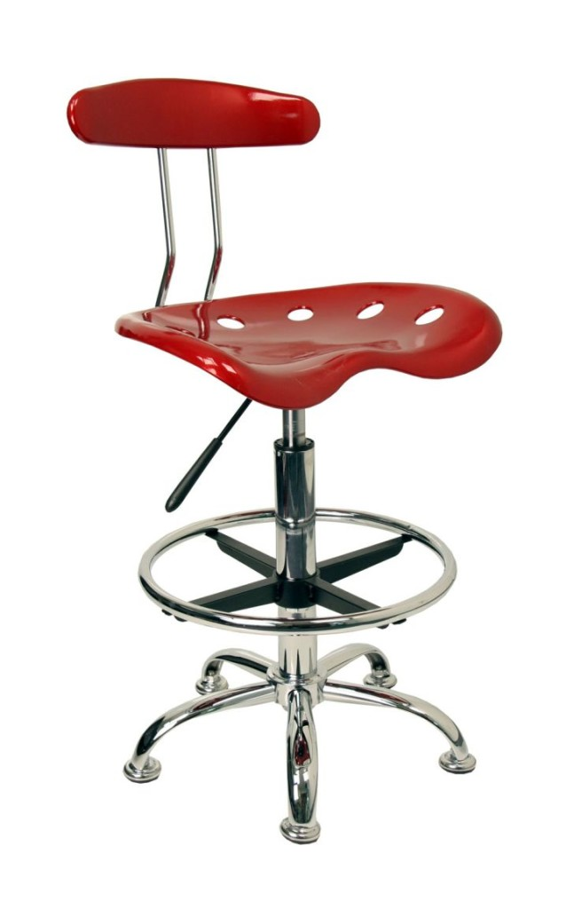 Metalic and Vibrant Drafting Stool with Tractor Seating by Flash Furniture