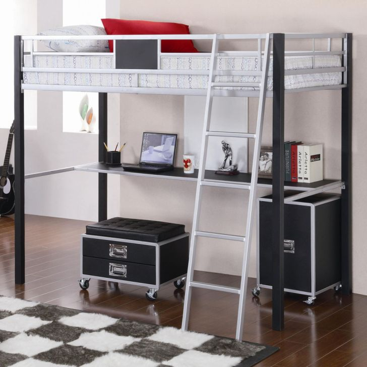 Twin White Bunk Bed for Girl Coaster LeClair with Desk Underneath