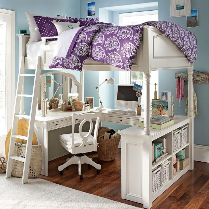 White Vintage Bunk Bed with Wooden Desk and Book Storage for Girl