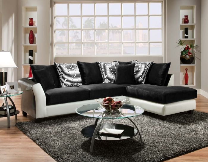 Furniture Stores in Lexington KY ZigZag Sectional Sofa with Cushion and Black Pillow by American Freight Furniture