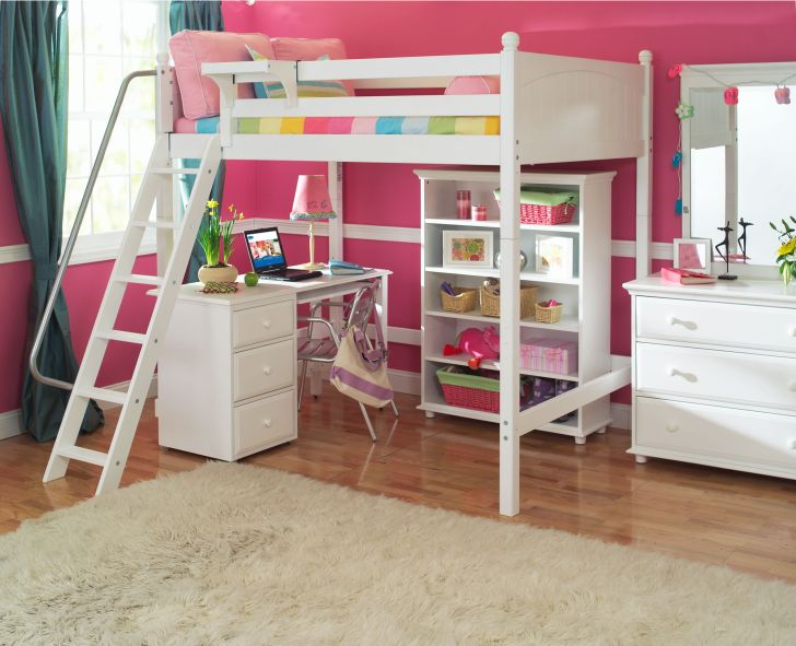 white Wooden Bunk Bed for Girl with Desk Underneath and Drawer