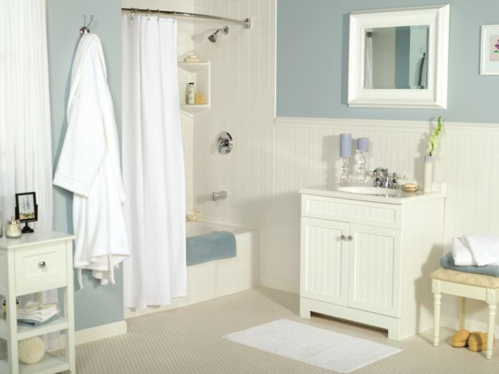Bathroom Makeovers And Remodeling In Long Island with White Wooden Vanity