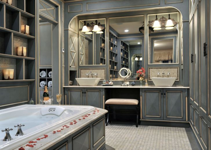 Bathroom Renovation with French Elegance Style for Master Bathroom with Vanity in Long Island