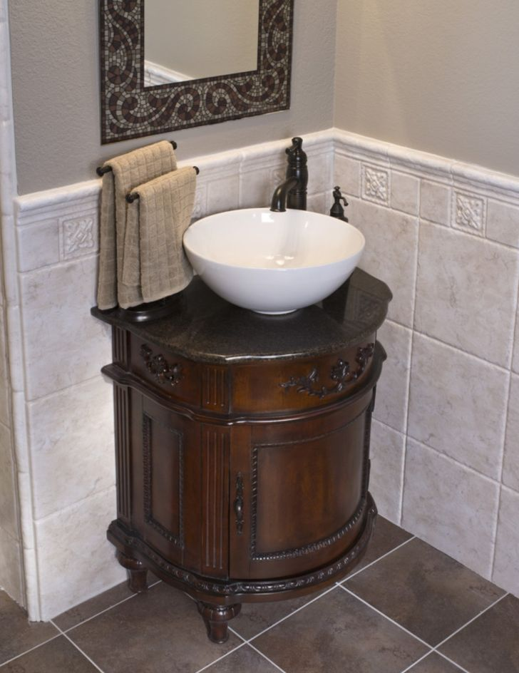 Bathroom Wooden Vanity with Basin Vessel Sink