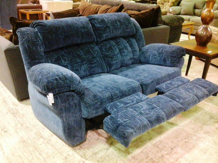 Blue Leather Double Recliner Slipcover Loveseat Fabric
