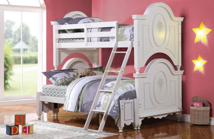 Charming White Bunk Beds Twin Over Full Ideas For Girl With Comfort Bed And Pillow
