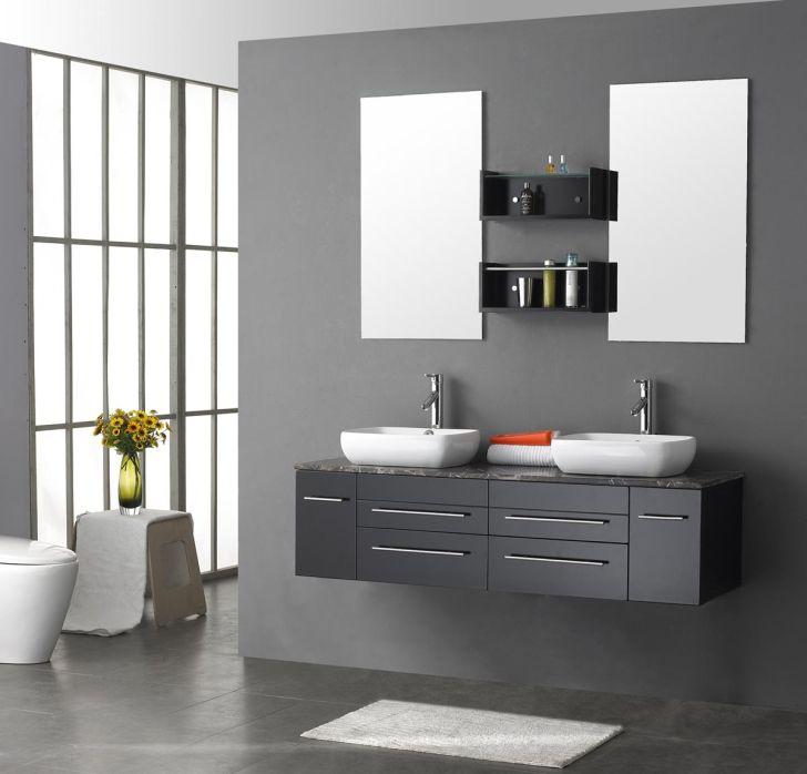 Costco Greay Bathroom Vanities with Double Sink and Mirror