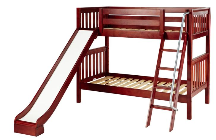 Double Bunk Bed with Slide Plans with Chesnut Finish and Ladder