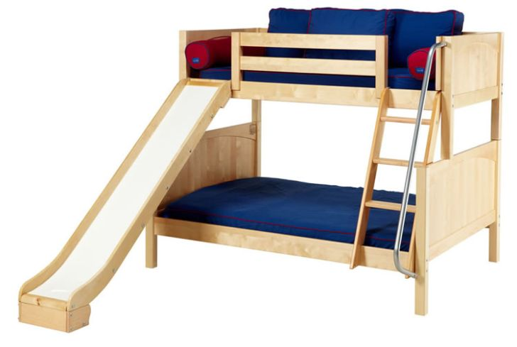 Double Wooden Bunk Bed with Slide Design with Stair