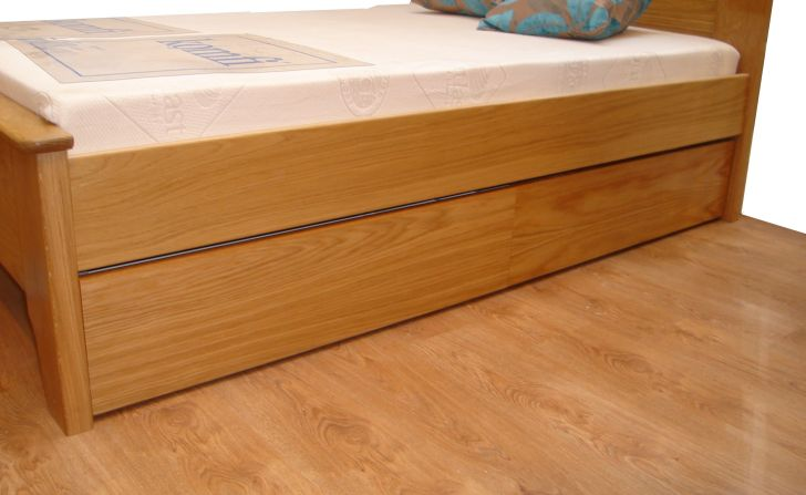 Double Wooden Underbed Storage Drawers