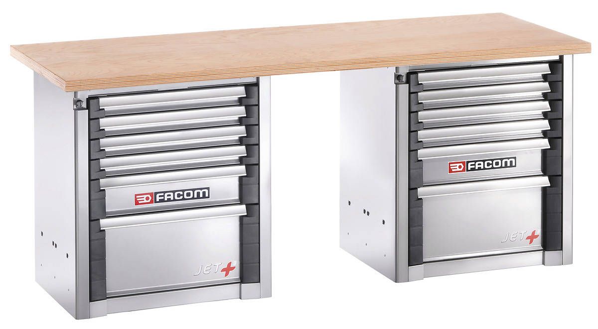 Facom 2m Industrial Craftsman Workbenches with Drawers units