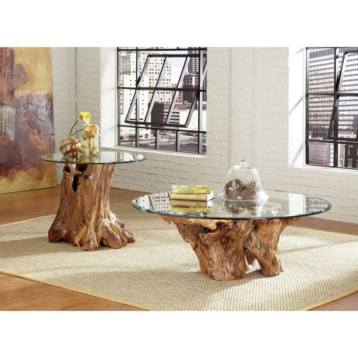 Hammary Hidden Treasures Root Ball Coffee Table Set with Beveled Glass Table Top