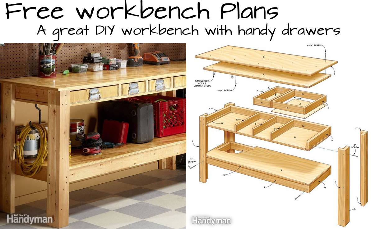 How to Make a Craftsman Workbench with Drawers- Plans