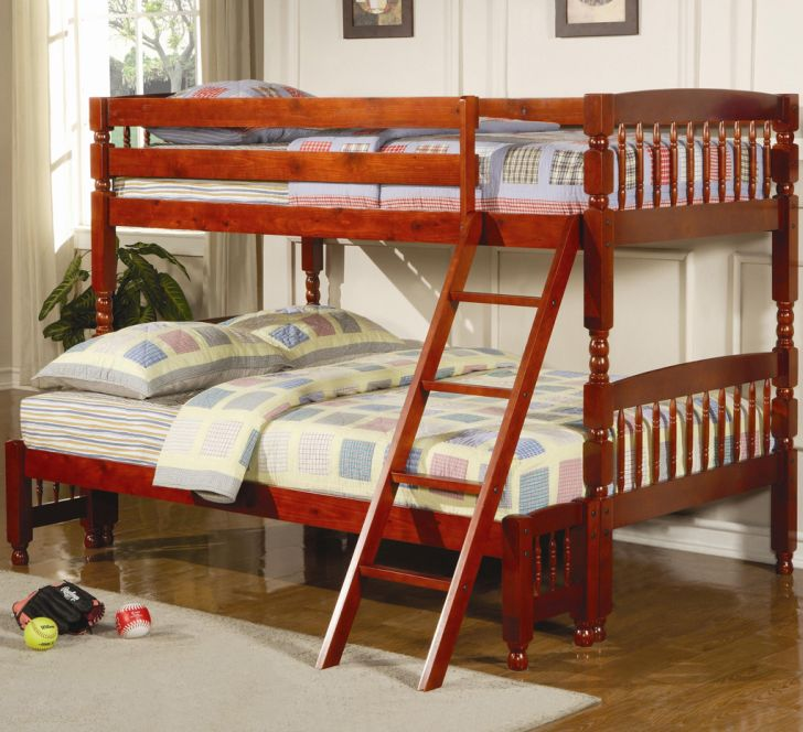 Kids Room Funishing With Twin Over Full Wood Bunk Bed Made From Red Cherry Wood