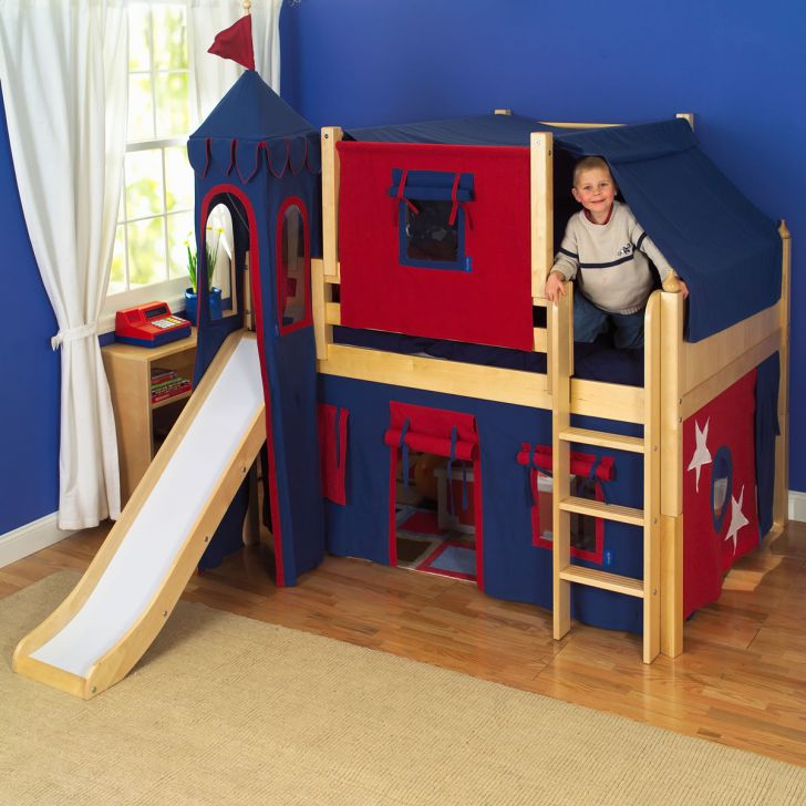 Kings Castle Bunk Bed with Slide by Maxtrix Kids