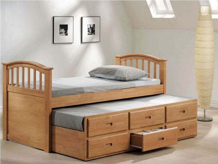 Natural Wooden Six Storage Drawers Under Bed