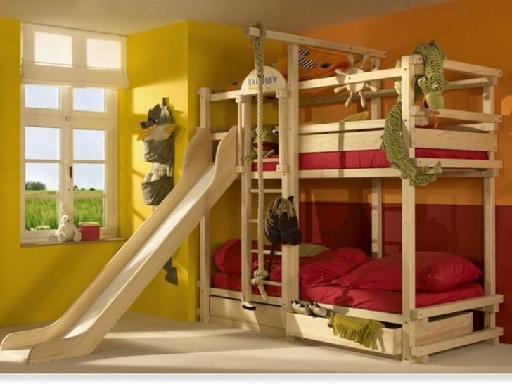 Pirate Theme Wooden Double Bunk Beds with Slide and Storage