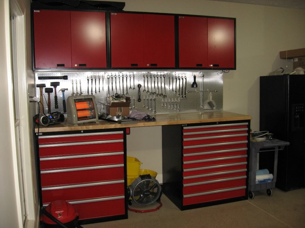 Red Wooden Craftsman Workbench with Drawers