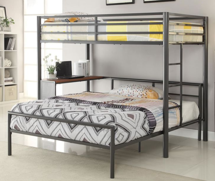Slim Full Metal Over Twin Bunk Bed With Stair