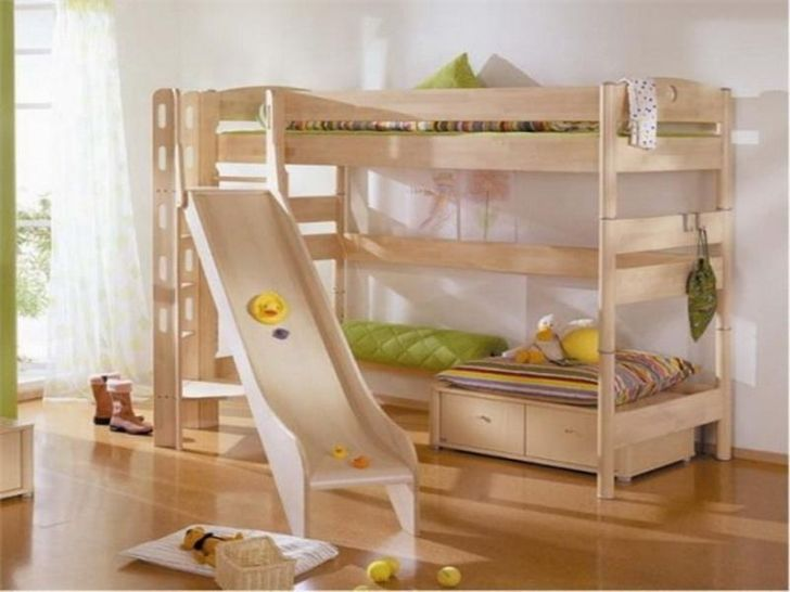 Smooth wooden Double Bunk Bed with Slide for Toddler