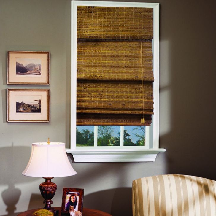 Stunning Cordless Bamboo Roman Shades Sale Home Depot In Dining Room
